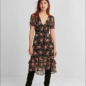 Express floral ruffle midi dress